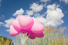 Group of lovely pink heart pattern balloons with blue sky clouds Royalty Free Stock Photo
