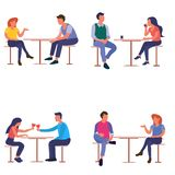 Group of Lovers woman and a man at a table in a cafe royalty free illustration