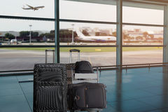 Group of luggage in the airport terminal royalty free stock image
