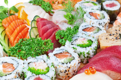 Group of luxury foods, sushi caviar, salmon. Stock Images