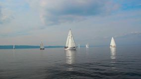Group of luxury sailing yachts floating open sea before storm stock video