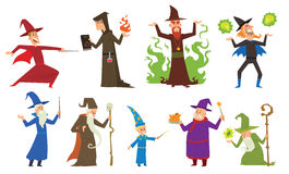 Group of magicians and wizards illusion show old man imagination, performance character vector. Magicians and wizards imagination, wich human performance Royalty Free Stock Images