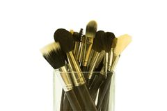 Group of make-up brushes Royalty Free Stock Photography