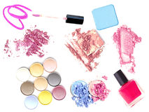 Group of make-up products  on white. Royalty Free Stock Photography