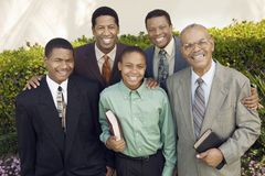 Group of male churchgoers portrait Stock Image