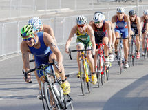 Group of male cycling triathlon competitors fighting Stock Photos
