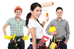 Group of male and female engineering smiling Royalty Free Stock Image