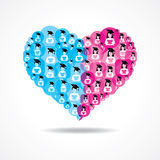 Group of male and female icons make a heart Royalty Free Stock Image