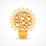 Group of male and female icons make a light-bulb Royalty Free Stock Image