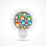 Group of male and female icons make a light-bulb Royalty Free Stock Photos