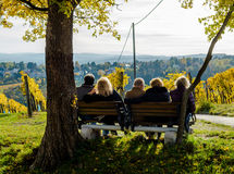 Group of Male and Female Seniors Sitting on Bench with View in Autumn Royalty Free Stock Photos