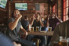 Group Of Male Friends Celebrating Whilst Watching Game On Screen In Sports Bar stock photo