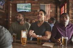 Group Of Male Friends Celebrating Whilst Watching Game On Screen In Sports Bar royalty free stock photo