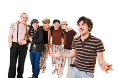 Group of male friends on white Royalty Free Stock Image