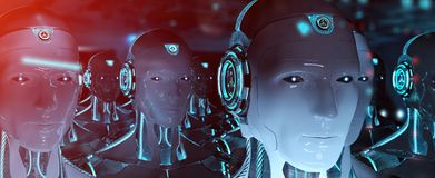 Group of male robots following leader cyborg army 3d rendering. Group of male robots following leader cyborg army concept 3d rendering stock illustration