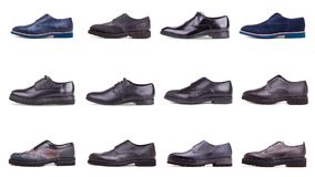 Group of male shoes on white background. Collection of male shoes on a white background Royalty Free Stock Photo