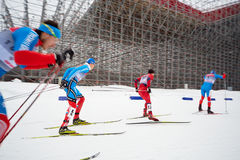 Group of male skiers during FIS Continental Cup Royalty Free Stock Image