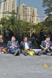 Group of man after Bolivian Independence Day parade in Brazil Stock Photography