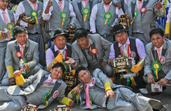 Group of man in Bolivian Independence Day parade in Brazil Stock Photo