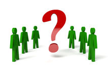 Group of man with a question mark. Concept 3D illustration Stock Photo