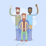 Group Of Man, Sit In Armchair Play Video Game, Stay Around Royalty Free Stock Photo