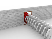 Group of man step through door for change Royalty Free Stock Photos