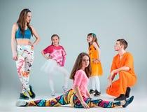 Group of man, woman and teens dancing hip hop choreography Stock Image