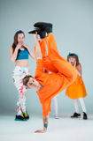 Group of man, woman and teens dancing hip hop choreography Royalty Free Stock Images