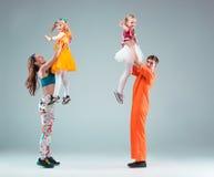 Group of man, woman and teens dancing hip hop choreography Royalty Free Stock Photography
