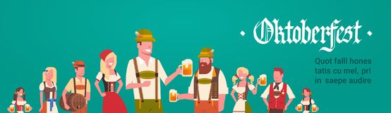 Group Of Man And Woman Wearing German Traditional Clothes Waiters Holding Beer   Stock Photos