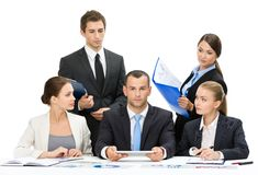 Group of managers discussing Stock Images