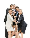 Group of managers pull the rope Stock Images