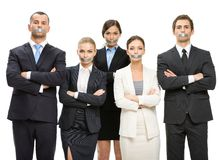 Group of managers with taped mouths Stock Image