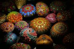 group of mandala stones of various sizes stock photos