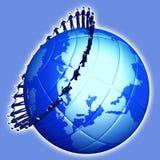 Group mans on globe planet Stock Photos
