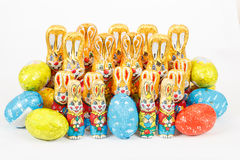 Group of easter chocolate rabbits - bunny and eggs Royalty Free Stock Image