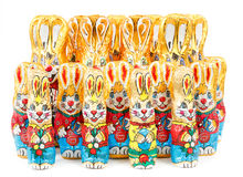 Group of easter chocolate rabbits - bunny Royalty Free Stock Photo