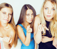 Group of many cool modern girls friends in bright clothers together having fun isolated on white background, happy Stock Images