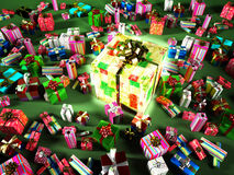 Group of many gifts, with a big central luminous present. Stock Photos