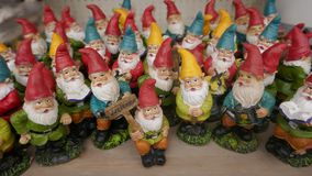 Many little garden gnomes. Group of many little garden gnomes royalty free stock photo
