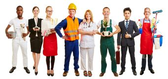 Group of many occupations for job center. Group of many occupations as team for job center ad Royalty Free Stock Photos