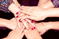 Group of many people hands together Stock Photography