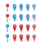 Group of map navigation icons and pin