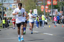 A group of marathon competitors during the 27th Belgrade Marathon on April 27, 2014 in Belgrade, Serb Royalty Free Stock Photos