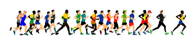 Group of marathon racers running. Marathon people vector. Royalty Free Stock Image
