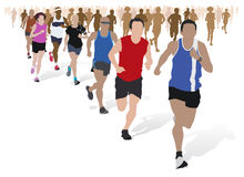 Group of Marathon Runners. Fully editable vector illustration of a group of marathon runners competing  in a street race Stock Photos
