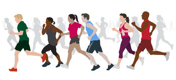 Group of Marathon Runners. Fully editable vector illustration of a group of marathon runners competing  in a street race Royalty Free Stock Images