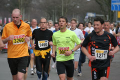 Group of marathon runners. Runners at the City Pier City Loop 2008 (half marathon). In the Hague stock images