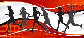 Group of Marathon Runners on abstract background. Fully   illustration of a group of marathon runners competing  in a street race on abstract background Stock Photos
