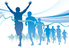 Group of Marathon Runners on abstract swirl backgr Royalty Free Stock Image
